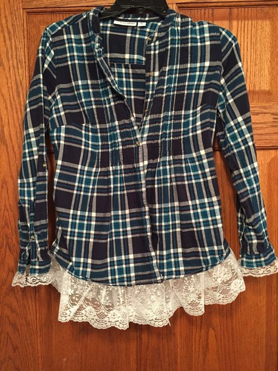 Upcycled Lace Trimmed Flannel Shirt size by LittleLoveLeeShop