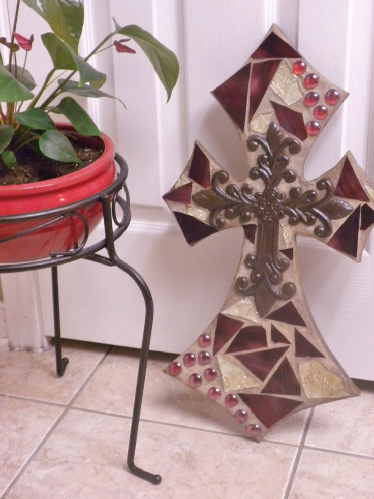 Mosaic cross -Cranberry red mosaic stained glass tile cross/ mosaic cross by CountryGooseBoutique on Etsy https://www.etsy.com/listing/123016217/mosaic-cross-cranberry-red-mosaic