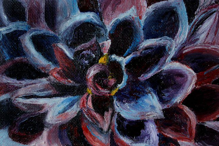 Violent pink unusual flower. Цветок. Необычный красивый цветок. Миниатюра маслом. Красный фиолетовый цветок. Георгин.  dahlia by teslimovka on Etsy #art #oilpainting #oil #miniature #flower #beauti #dahlia #георгин #цветок #природа #картинамаслом