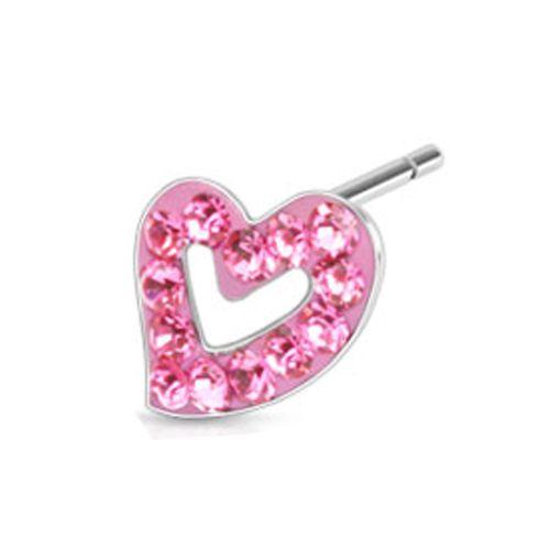 Oorbellen hartje steentjes roze