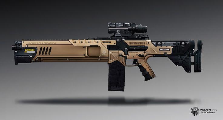 Wolfwood Assault Rifle, Timur Kvasov on ArtStation at https://www.artstation.com/artwork/zkQnZ