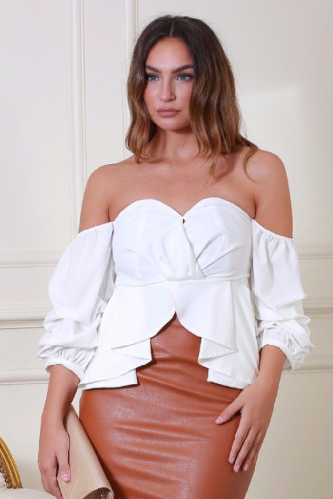 Francesca White Ruffle Cropped Top
