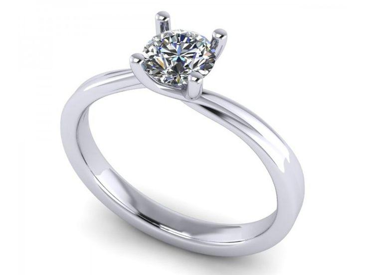Anello solitario linea morbida quattro griffe per donna platino diamante GIA carati 0,55 D-IF