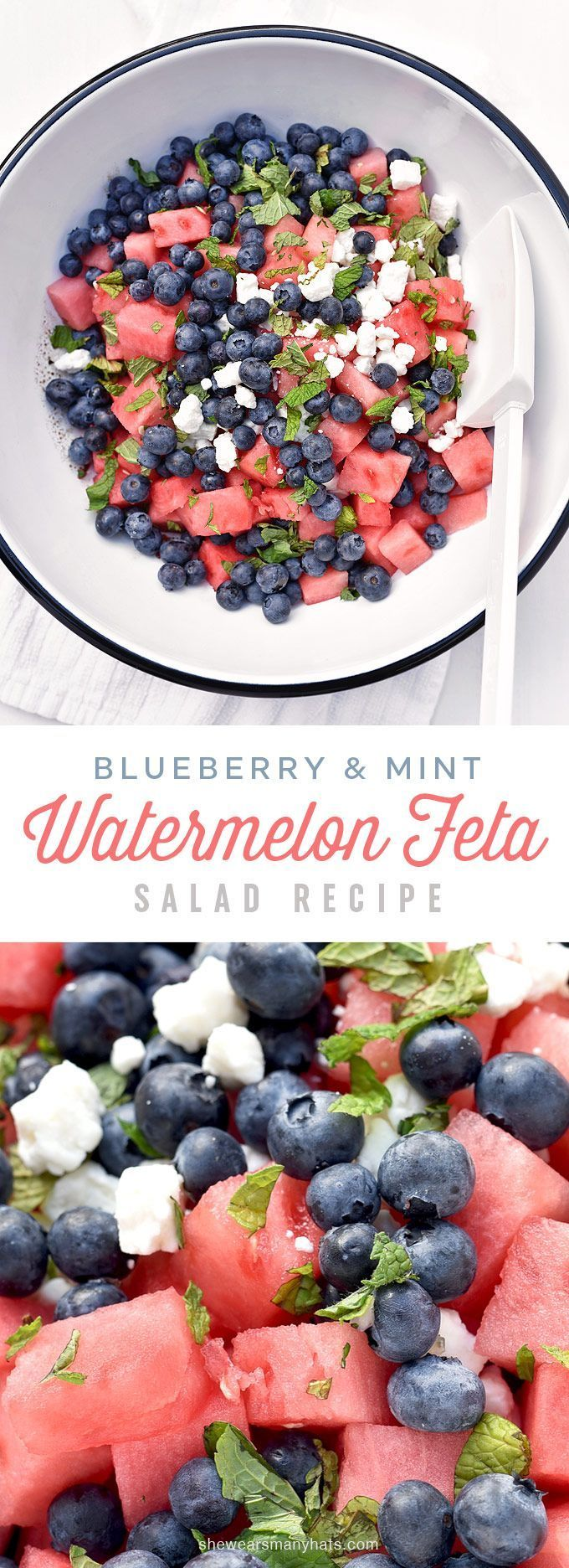 Blueberry Watermelon Feta Mint Salad Recipe | shewearsmanyhats.com