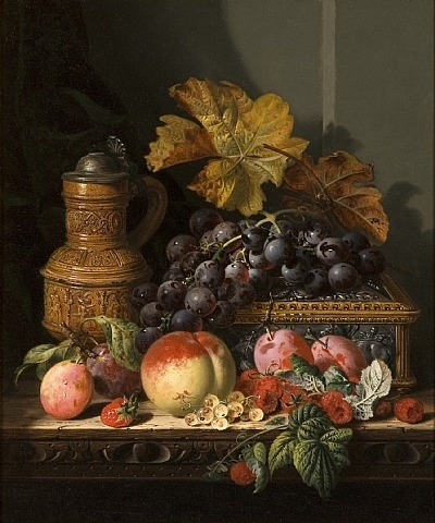 STILL LIFE OF GRAPES, RASPBERRIES AND PEACHES, by Edward Ladell