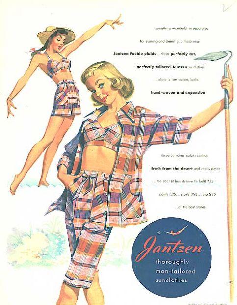 Illustration by Pete Hawley, 1951, Pueblo Plaids, Jantzen ad. Seventeen.