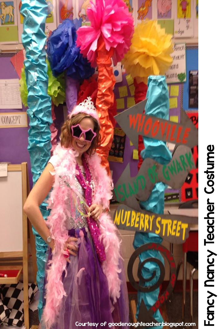 Fancy Nancy Halloween costumes for teachers. Easy to make and easy to put on for the after lunch parade. More at teachinginroom6.blogspot.com