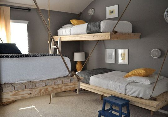 Hanging Bedroom Trio has the links to diy the beds and also the links to the decorative items.  Enjoy Apartment therapy's way of doing the hard work for you.