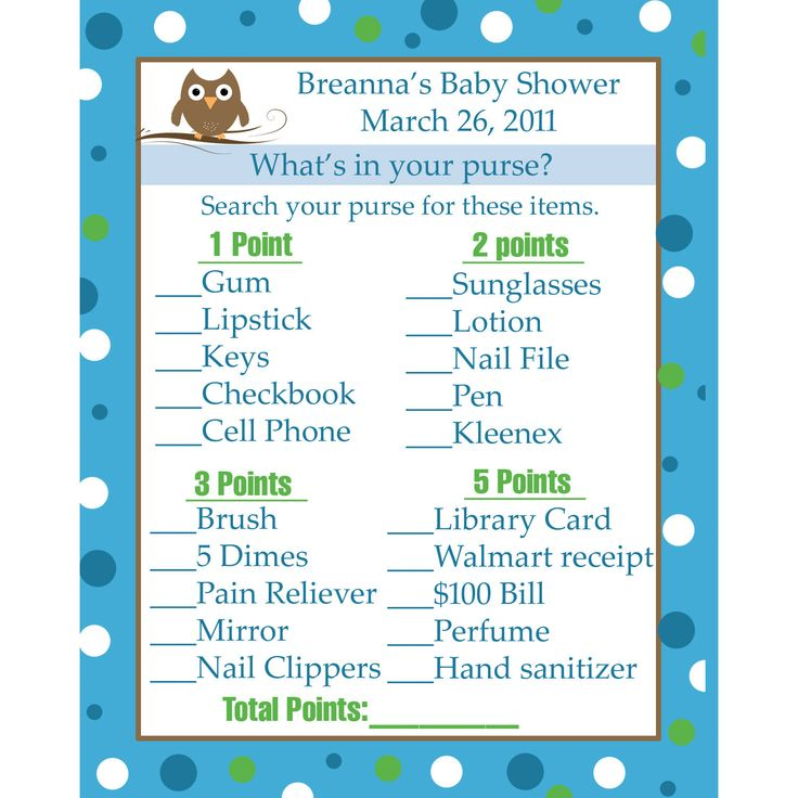 24 Personalized Baby Shower Game Cards In By Partyplace Easy Baby Shower  Games Ideas