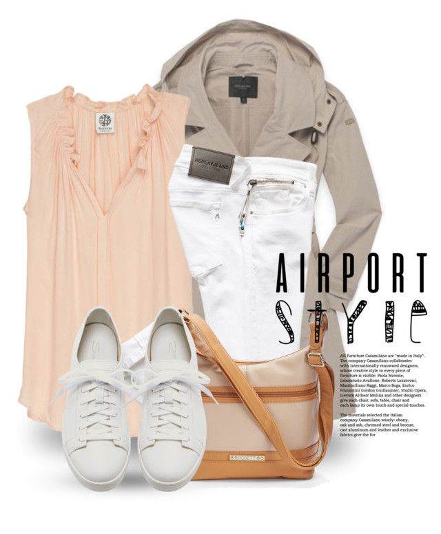"""""""Jet Set: Airport Style 3712"""" by boxthoughts ❤ liked on Polyvore featuring Andrew Marc, Bobeau, Rosetti, Santoni and airportstyle"""