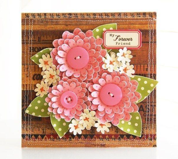 Креативный цветочек для открытки ручной работы