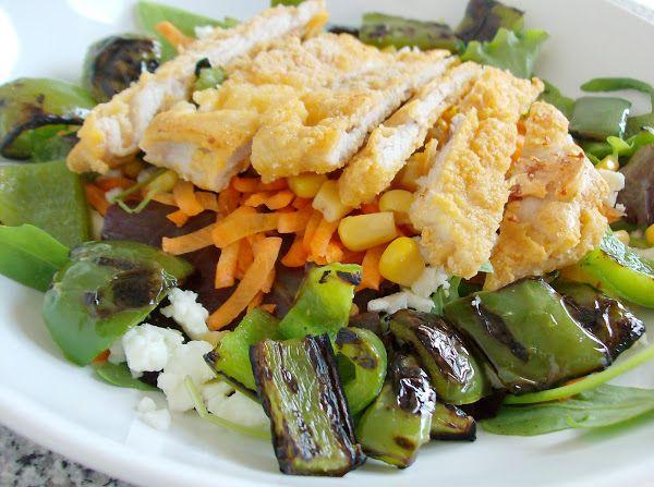 Dieta: Salada de Bife de Peru Panado com Pimentos Grelhados