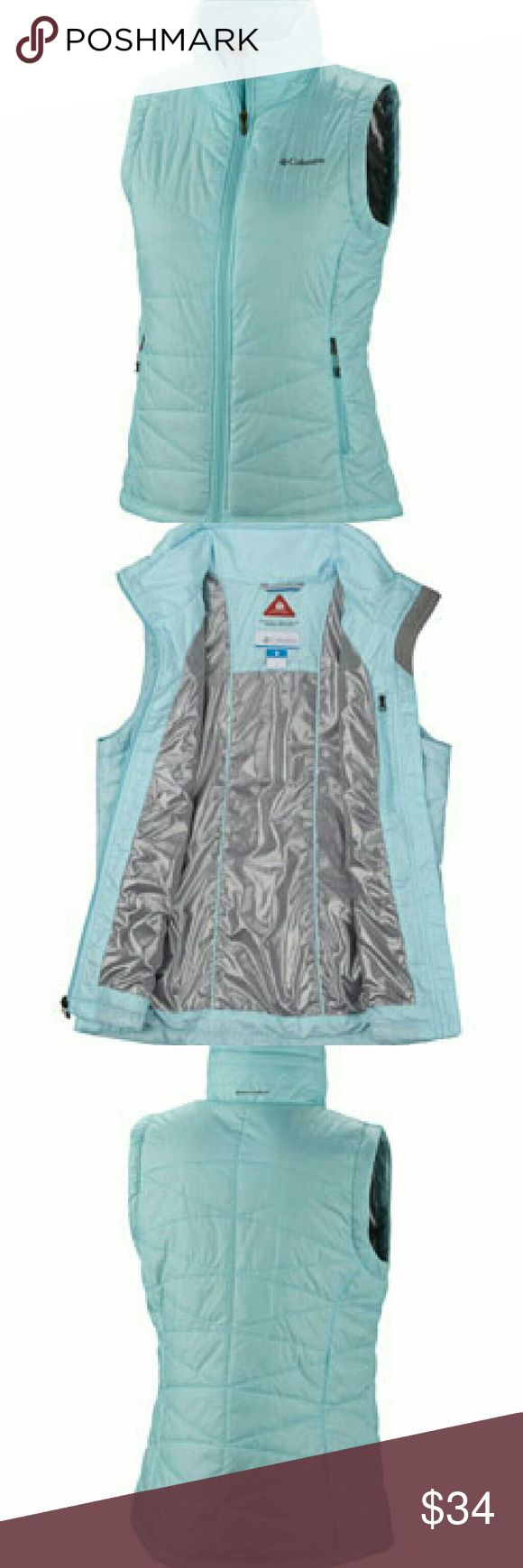 Columbia Mighty Lite blue vest Never worn. Active vest. Light ice blue color. Thin thermal insulation. Zip closed pockets. Columbia Jackets & Coats Vests