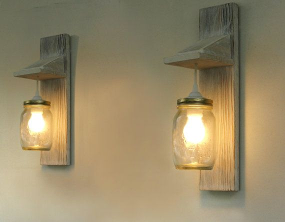 "Pair of Wall lamp, Reclaimed wood wall sconce, Mason Jar lighting, £99.10 pair, hard wired, Sconce measures18.1"" (46cm)high, 3.9""(10cm) wide and sticks out 6.7""(17cm) from the wall.  If you wish dimensions can be differentiated as to the height and length of the cable."