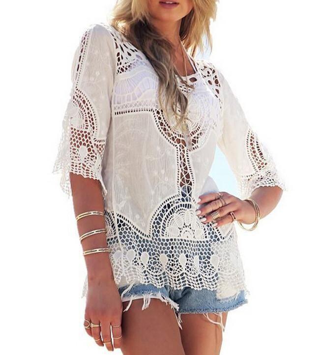 b8d2e1a1026 Boho White Crochet Short Sleeve Blouse | BMEssentials.com Store | Pinterest  | White lace blouse, Fashion and Blouses for women