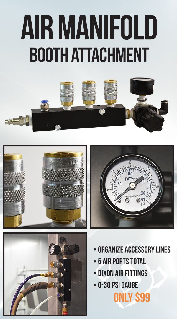 """The Air Manifold booth attachment can be mounted to your powder booth or any other sheet metal surface (mounting screws included). One air hose in now amounts to a total of five air ports, one of which has a regulator for fluidizing kegs or vibration stands. The input for the Air Manifold can accept the standard ¼"""" quick connect, ¼"""" NPT, or ⅜"""" NPT.  #columbiacoatings #powdercoating #powderbooth #industrial"""