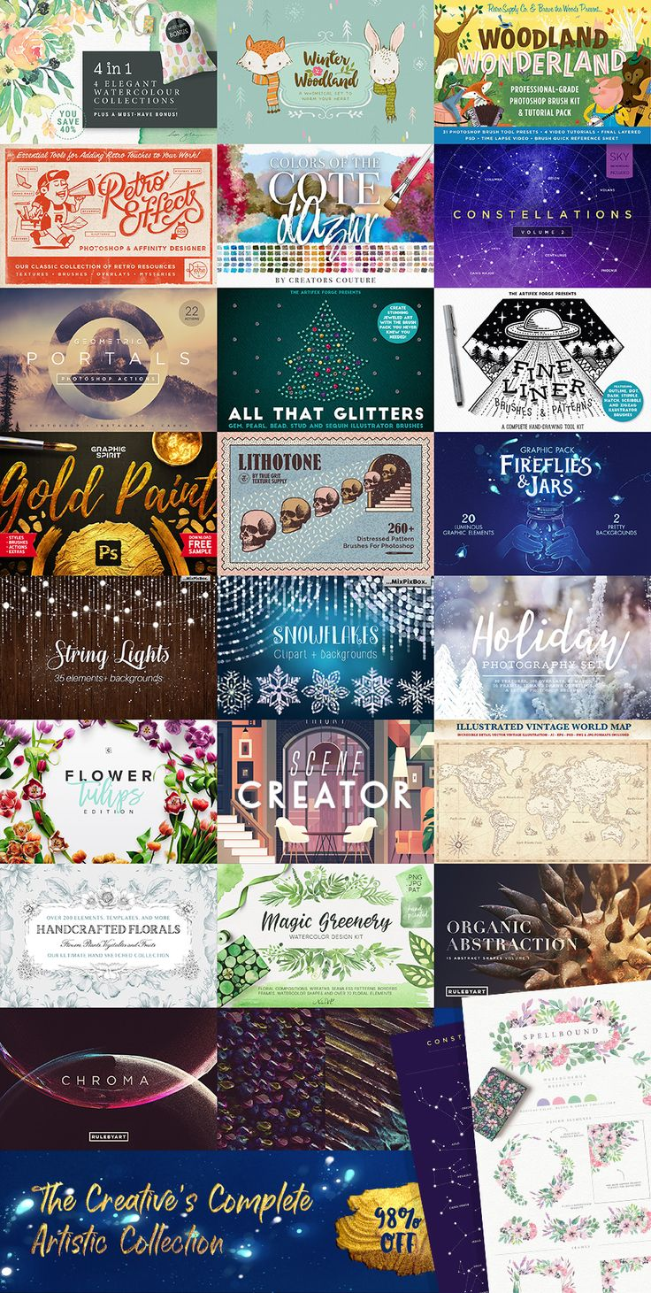 Hurry! The Creative Designer's Colossal Treasure Chest is 97% right now and includes LOADS of gorgeous #graphics for your #blogdesign needs! #redesign #webdesign #watercolor #geometric #illustration #handdrawn #retrographics #florals #glitter #goldfoil
