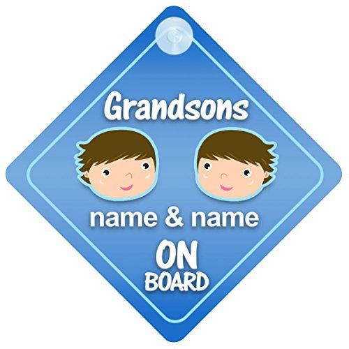 Grandsons On Board Car Sign New Baby  Child Gift  Present -- You can find more details by visiting the image link.
