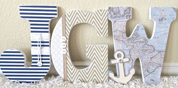 Custom Wooden Nursery Letters Nautical theme by TheRuggedPearl