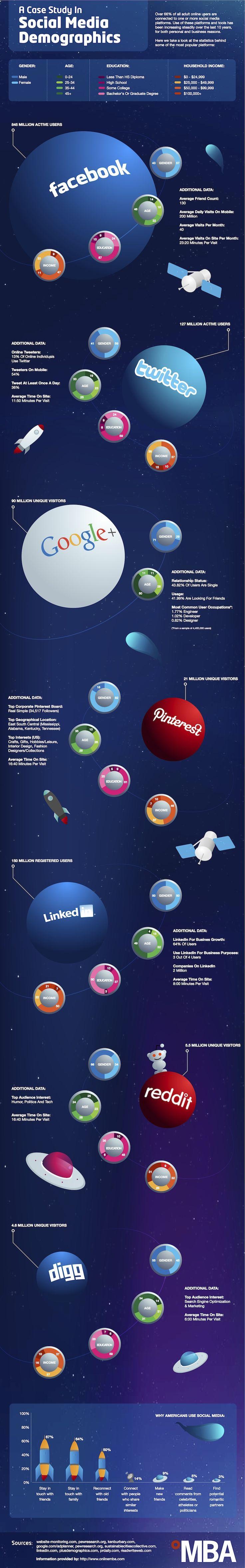 Facebook, Twitter, Reddit, Pinterest - a case study in social media demographics