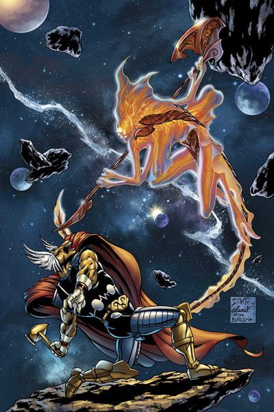 After reforming, Stardust realized that Bill was a more powerful opponent than he realized and planned on defeating Beta Ray Bill by opening a portal to a universe inhabited by the most evil of beings, and planned on sending Beta Ray there. Bill managed to escape, but a being named Asteroth escaped and began devouring planets. At Stardust's request, they joined forces to defeat Asteroth.