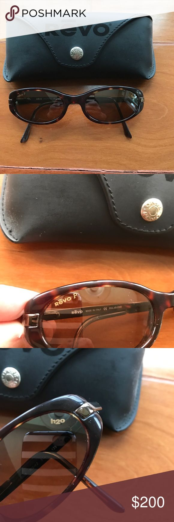 Vintage Revo polarized sunglasses. h2o technology If you are a Revo fan, you know they haven't been the same since the 90s. These are glass lenses with a brown polarized H2O lens. Tortoise frame and metal bronze arms. Not a scratch on the lenses. Pristine. Arms have spring loaded hinges. Comes with case. Revo Accessories Sunglasses