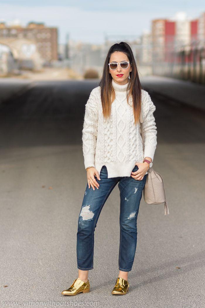 Zapatos dorados Dandy Mirror de Fratelli Rossetti y Jeans Rotos | With Or Without Shoes - Blog Moda Valencia España