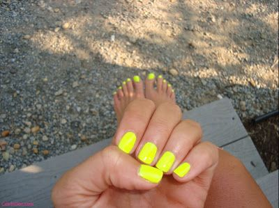 : Yellow Nails, Nail Polish, Makeup, Summer Color, Neon Nails, Beauty, Nail Art, Neon Yellow