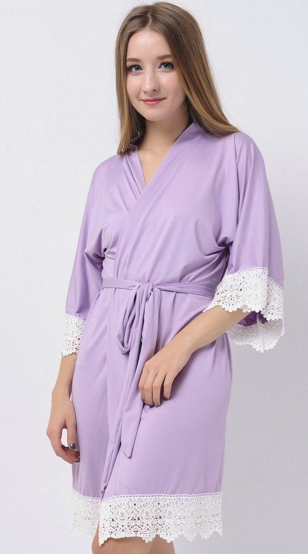 Lavender Stretchy Jersey Robes Cheap Robes Kimono Robes Modal Bridesmaid Gifts Bridesmaid Shirts Cheap Bridesmaid Gifts Maid of Honor Robes