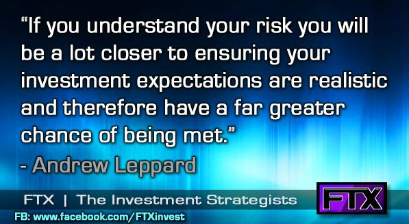 Understand your risk for being realistic in your expectations.