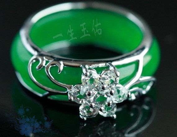 Light green jade. charm jade ring -Customize your ring size ( us 6 - 12 ) on Etsy, $17.99