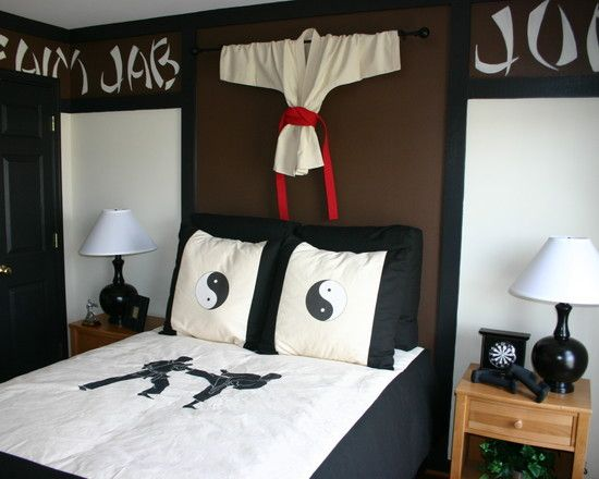 : Asian Themed Kids Bedroom With Karate Inspiration Design Also Karate Apparel Also Black And White Bed Color Also Ying Yan Image On Pillowcase Also Karate Silohouette On Bedspread Also Rustic Nightstand