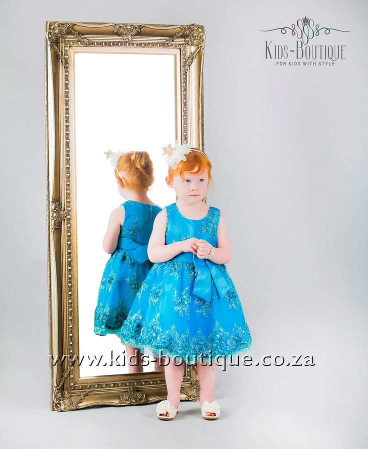 Bright Blue Dress With Gold Flower Patterns