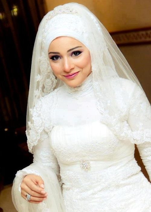 Bridal White Hijab is one of the top bridal dress in the world. The tradition of white wedding dresses is very old and unique. In 1840 once Queen of England