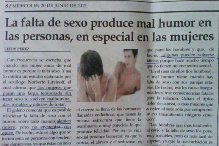 #Humor Efecto de la falta se sexo, en especial en las mujeres.