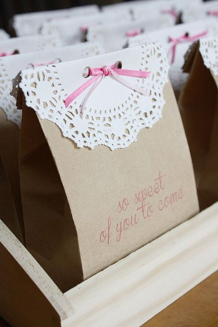 kraft-bag-favors - love this idea with the paper doilies and ribbon... could really get creative