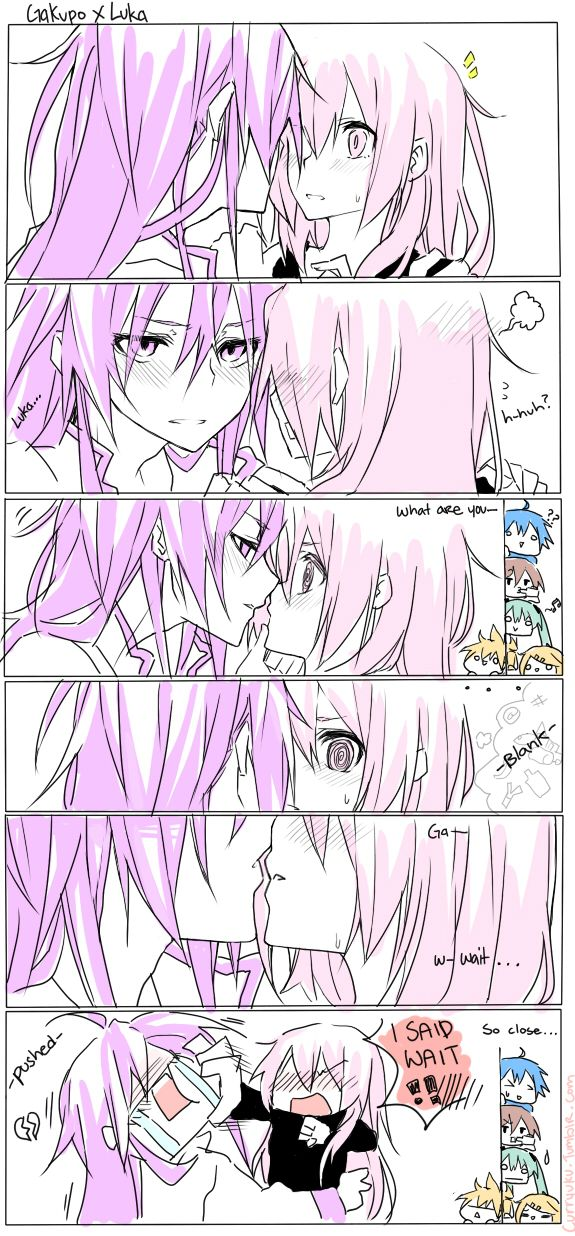 Gakupo x Luka (Vocaloid) with Len, Rin, Miku, Kaito, and Meiko spying on 'em by Curryuku