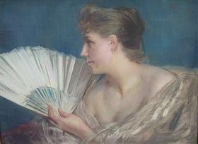 Femme à l'éventail - Charles Hermans