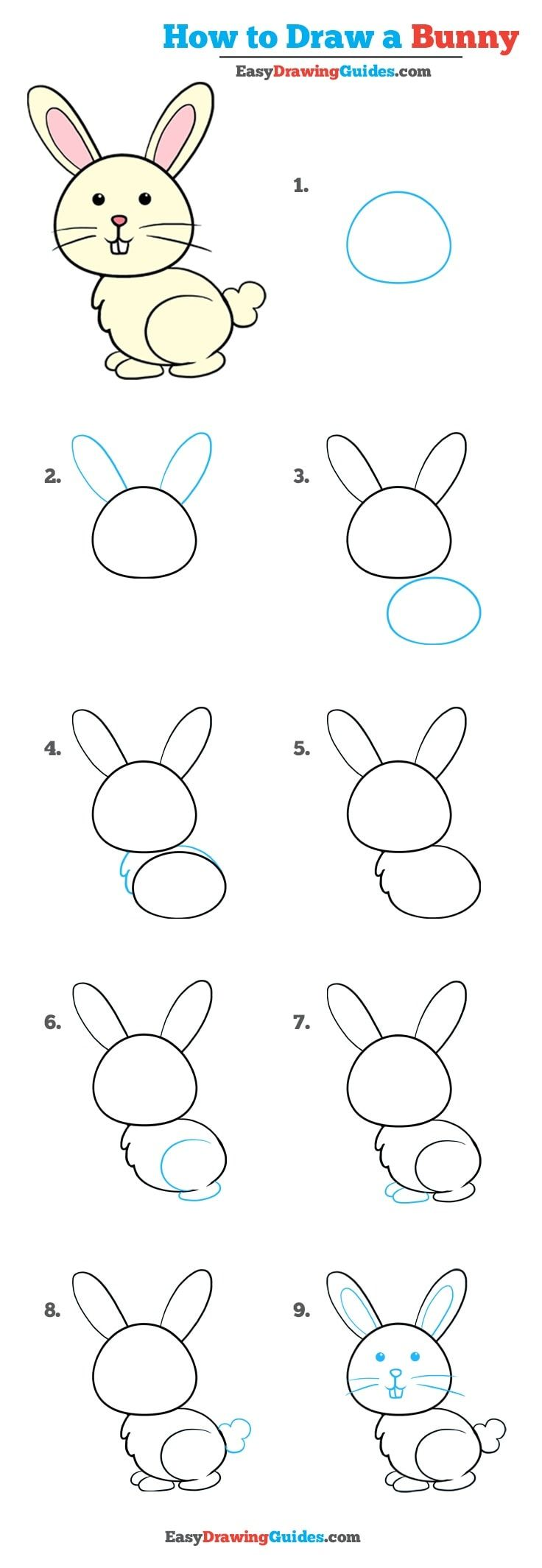 How To Draw A Bunny In A Few Easy Steps Easy Drawing Guides Bunny Drawing Drawing Tutorials For Kids Easy Drawings For Kids