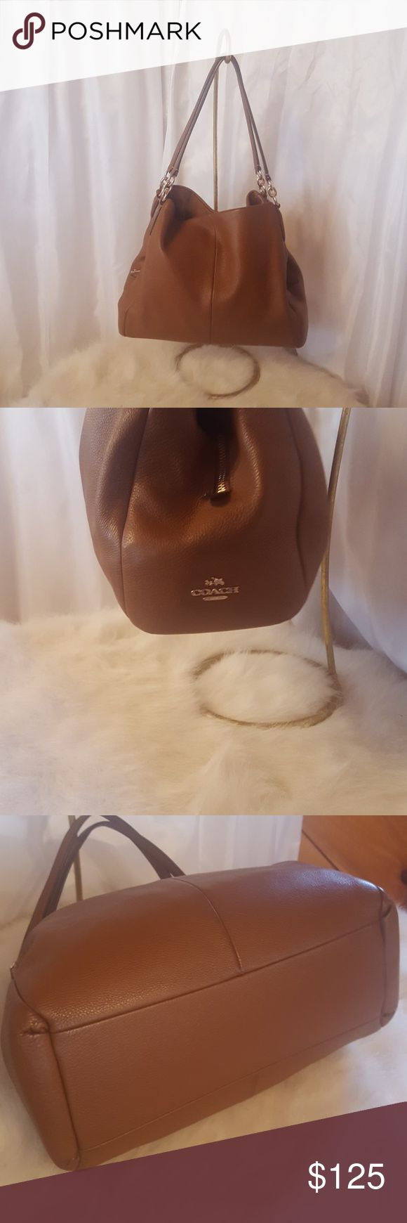 Amazing Coach bag! Coach shoulder bag in great neutral color for year round use. Pebbles leather.  Tons on storage and compartments. Excellent condition! Coach Bags Shoulder Bags