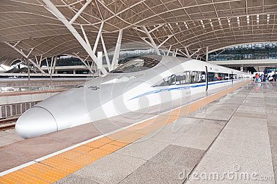 Wuhan, China - April 20, 2013: China Railway High-speed train crh380A-6045L stop at Wuhan railway station Platform