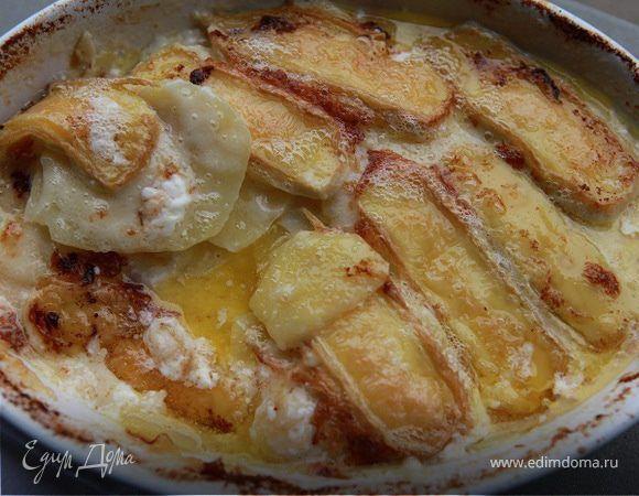 Гратен из картофеля с сыром . Ингредиенты: картофель, сыр бри, сыр твердый | Кулинарный сайт Юлии Высоцкой: рецепты с фото