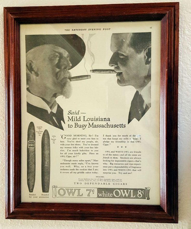 Vtg 1919 White Owl Cigar Magazine Ad Original Saturday Evening Post Framed 16x13 #WhiteOwl