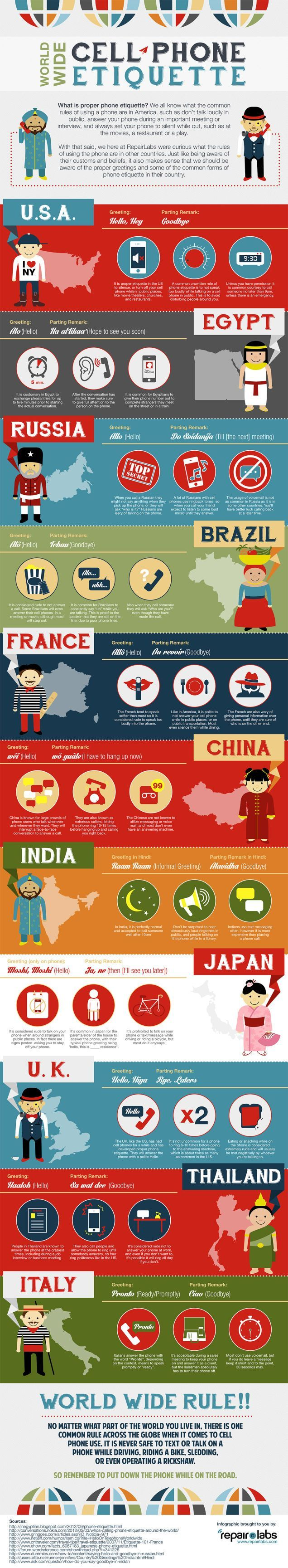 Cell Phone Etiquette Around the World by repairlabs via lifehacker #Infographic #Cell_Phone_Etiquette