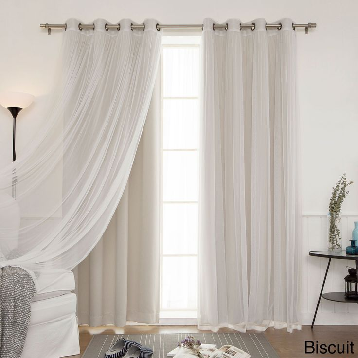 Bring a romantic aesthetic to your living room with this tulle lace curtain set.