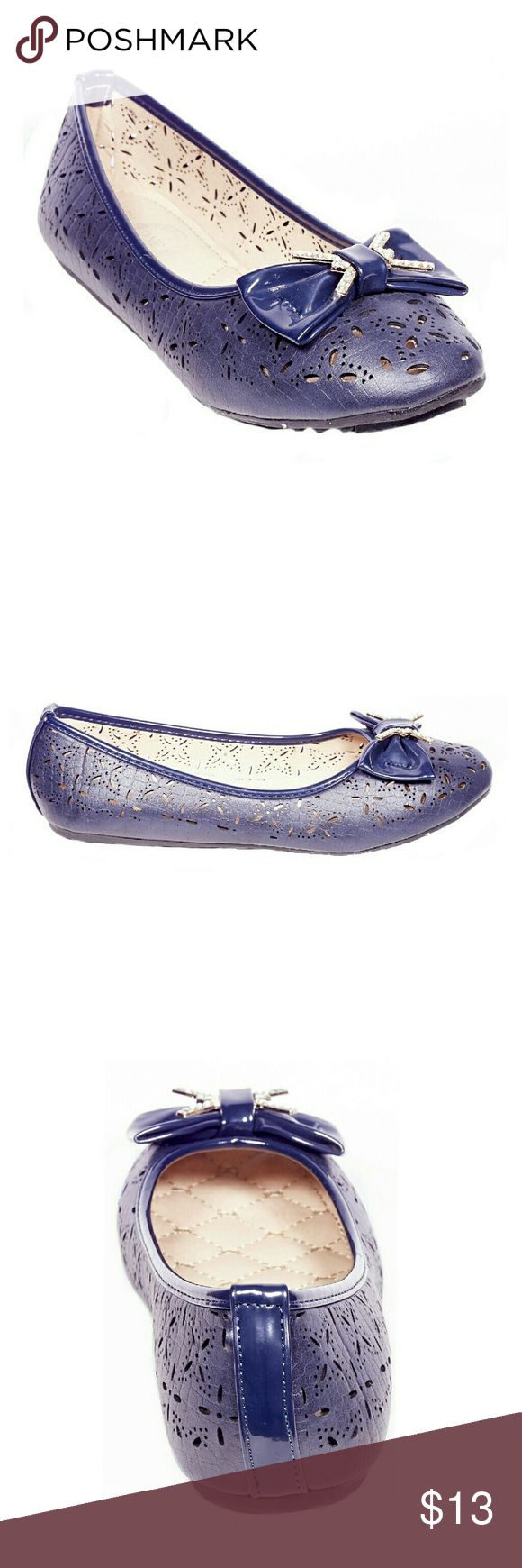ONE Tory K Perforated Flats w.bow, b-2057 Brand new Victoria K perforated ballerina flats with a stylish bow and stone-studded buckle in the front. From the ONE collection. Soft cushioned sole, very comfortable, true to size. Bubbled bottom sole for extra traction. Tory K  Shoes Flats & Loafers
