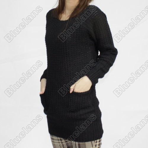 Discount China china wholesale Women Pullover Long Sleeve Sweater Jumper Mini Dress TOP With 2 Pockets 3 COLORS [30020] - US$27.49 : Bluelans