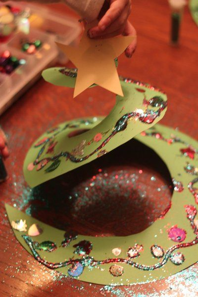 A spiral Christmas tree craft for kids to decorate and make