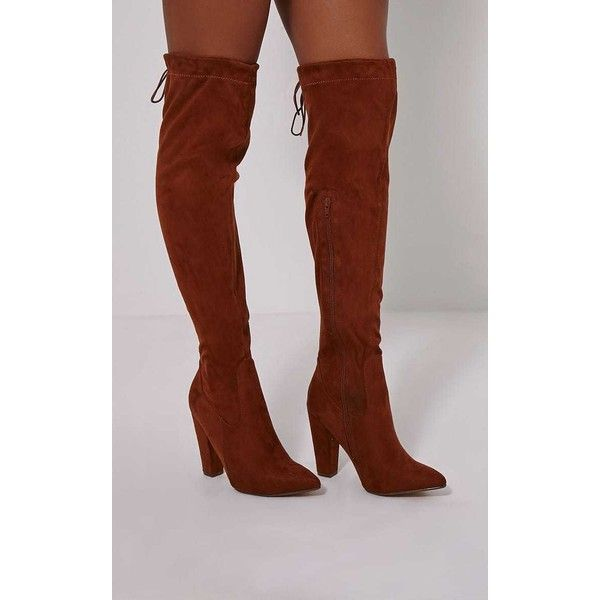Hazel Tan Faux Suede Heel Thigh Boots ($41) ❤ liked on Polyvore featuring shoes, boots, brown, sexy thigh high boots, faux suede thigh high boots, sexy over the knee boots, brown over-the-knee boots and brown thigh high boots