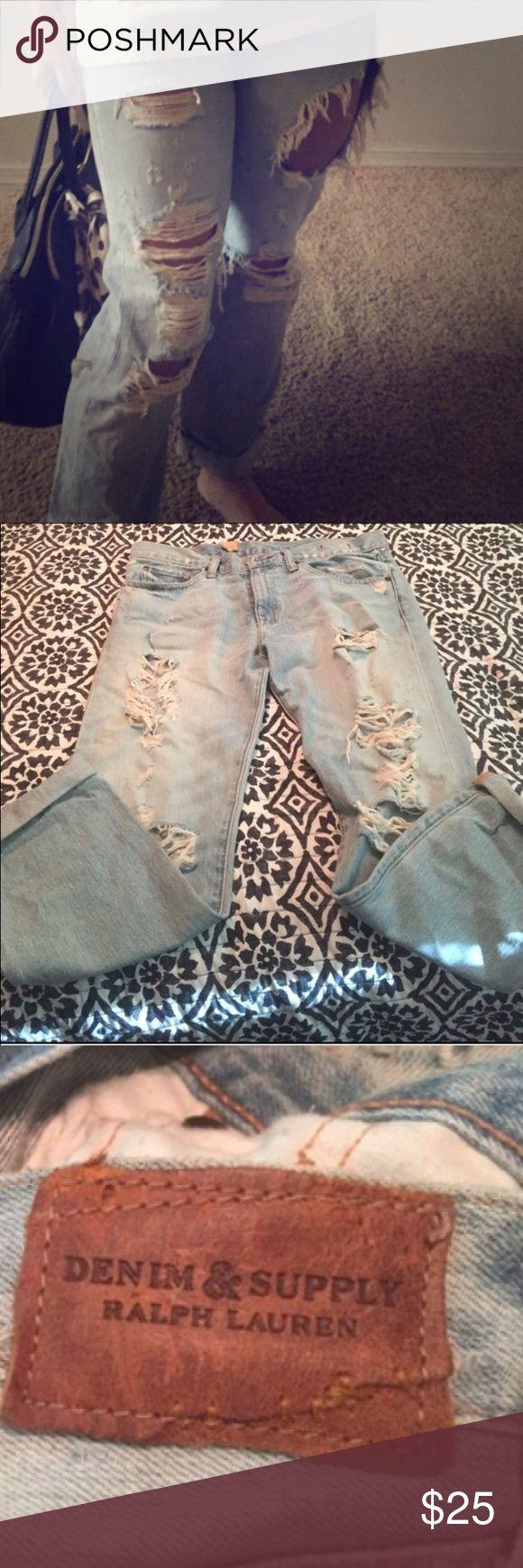 Ralph Lauren ripped jeans Super cute Ralph Lauren ripped boyfriend jeans, the one rip does go up a little far but still so cute Ralph Lauren Jeans Boyfriend